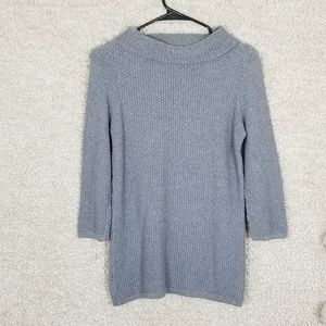 LOFT Gray Chunky Knit Cowl Knit Sweater Medium